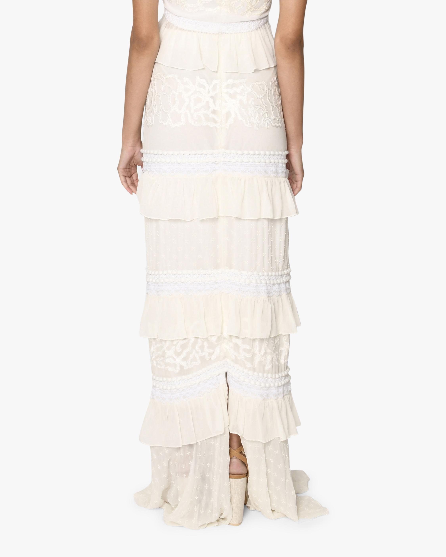 Nicole Miller Embroidered Silk Maxi Skirt 1