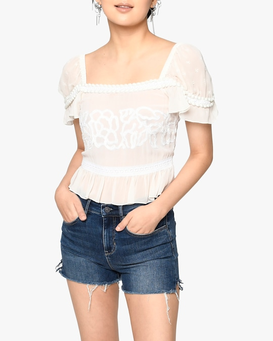 Nicole Miller Embroidered Silk Blouse 0