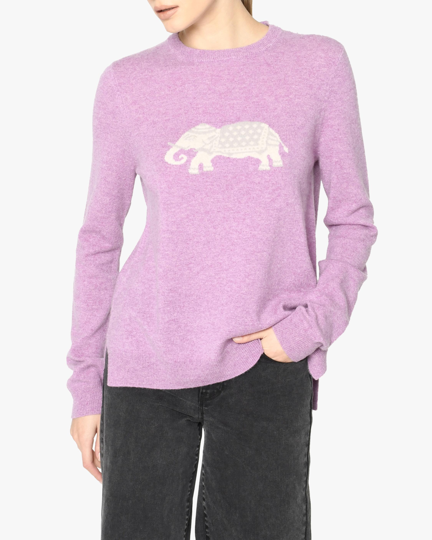 Nicole Miller Elephant Cashmere Crewneck Sweater 1