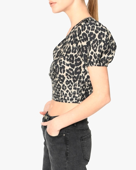Nicole Miller Cheetah Cotton Voile Puffed-Sleeve Top 1