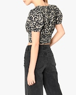 Nicole Miller Cheetah Cotton Voile Puffed-Sleeve Top 2