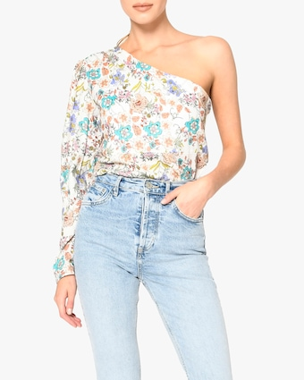 Nicole Miller Jasmine Floral One-Shoulder Top 1