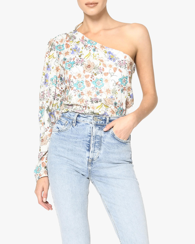 Nicole Miller Jasmine Floral One-Shoulder Top 0