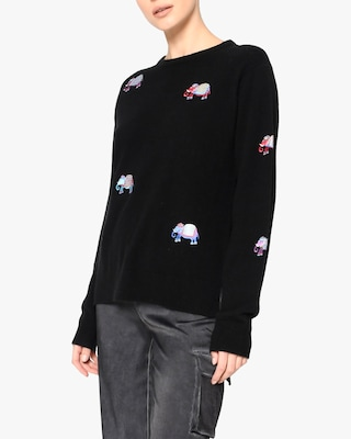 Nicole Miller Embroidered-Elephant Cashmere Sweater 2