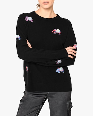 Nicole Miller Embroidered-Elephant Cashmere Sweater 1