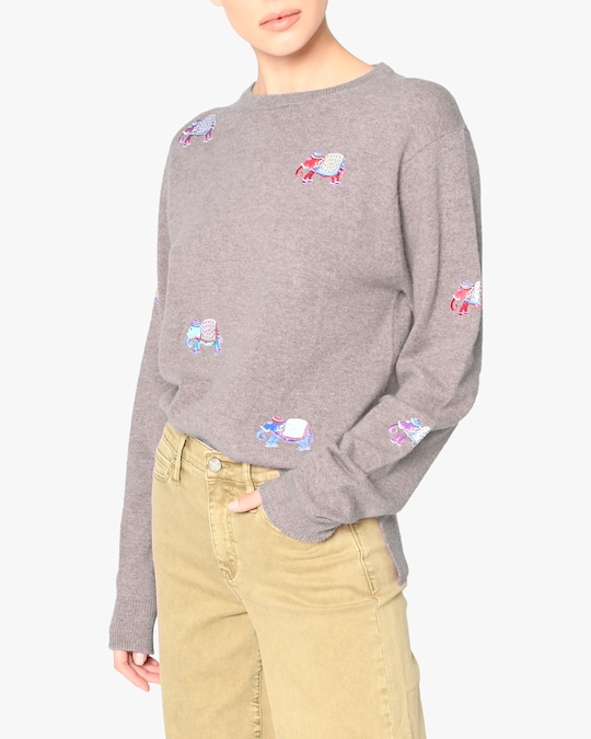 Nicole Miller Embroidered-Elephant Cashmere Sweater 0