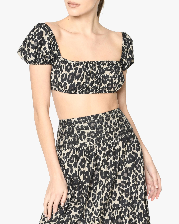 Nicole Miller Cheetah Cotton Voile Crop Top 1