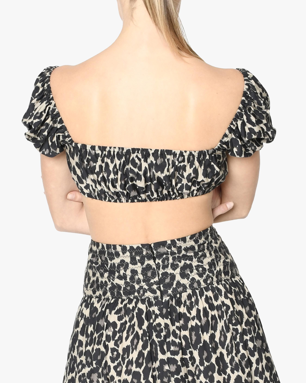 Nicole Miller Cheetah Cotton Voile Crop Top 2