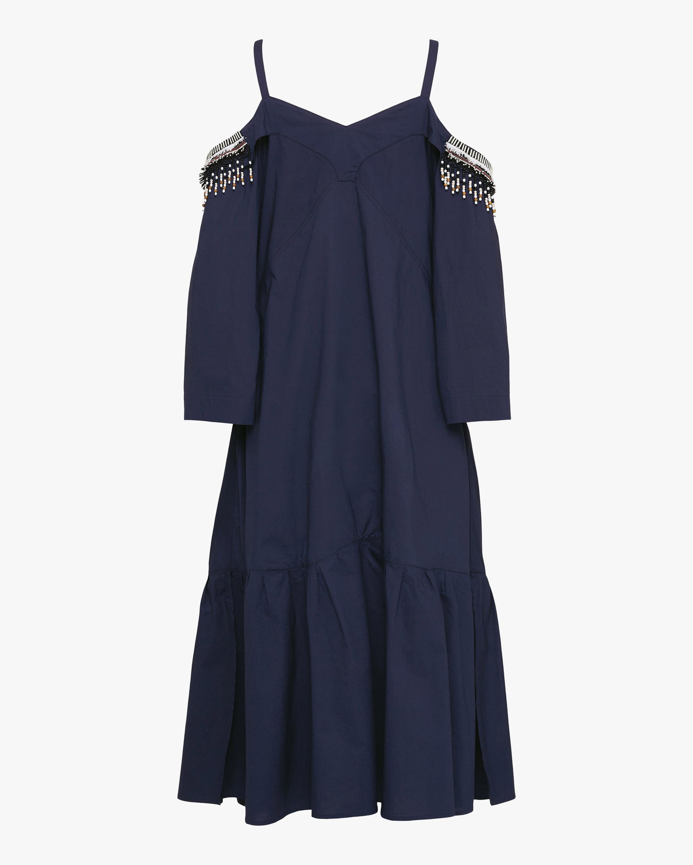 Dorothee Schumacher Fantasy Poplin Off-Shoulder Dress 0
