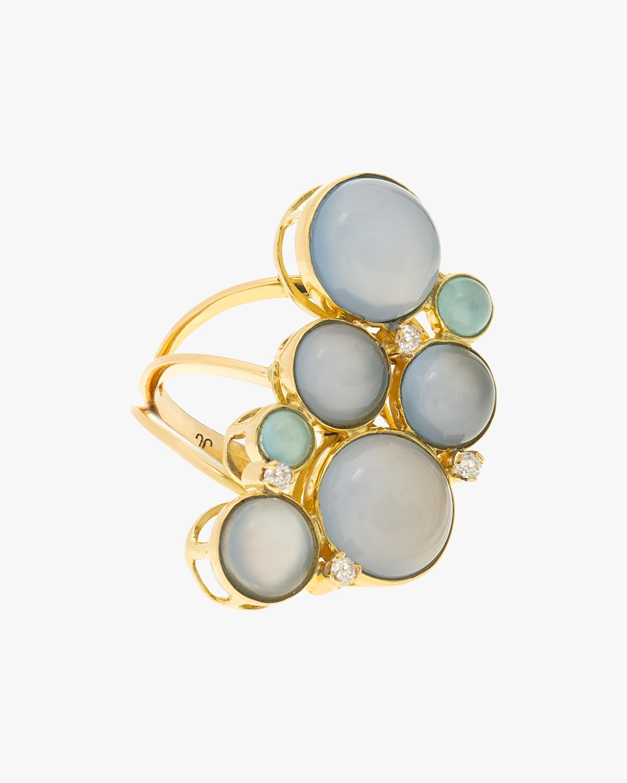 Juliette Du Jacob Blue Chalcedony & Diamond Cluster Ring 1
