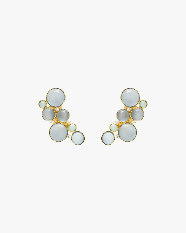 Juliette Du Jacob Blue Chalcedony & Diamond Cluster Earrings 0