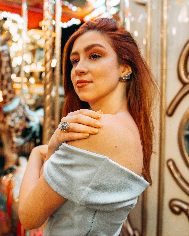 Juliette Du Jacob Blue Chalcedony & Diamond Cluster Earrings 2