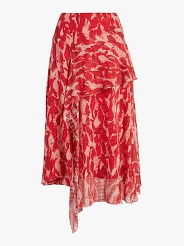 Printed Clip Dot Asymmetrical Skirt