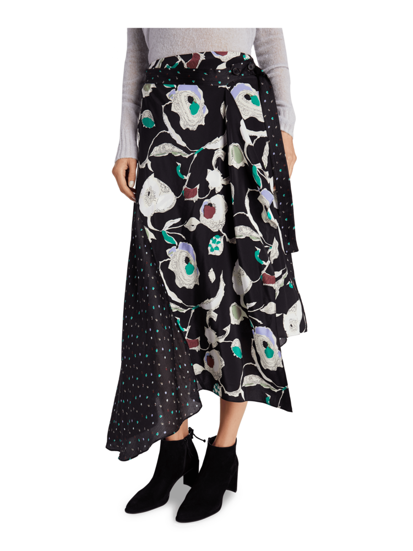 Floral Asymmetrical Skirt Jason Wu GREY