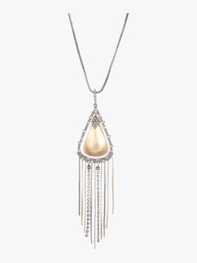 Crystal Encrusted Tassel Necklace