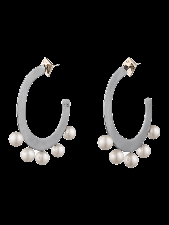 Pearl Studded Sheet Hoop Earrings