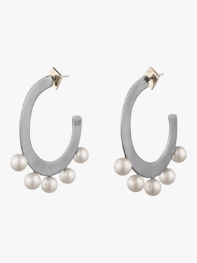 Pearl Studded Sheet Hoop Earrings