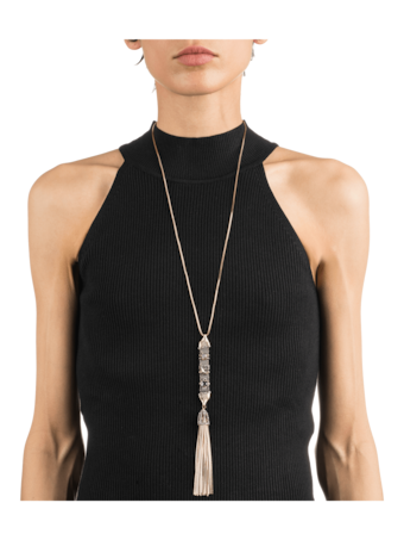 Stone Studded Chain Tassel Pendant