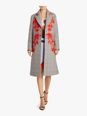Embroidered Camel Plaid Coat
