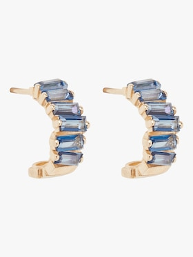 Blue Topaz Baguette Huggie Earrings