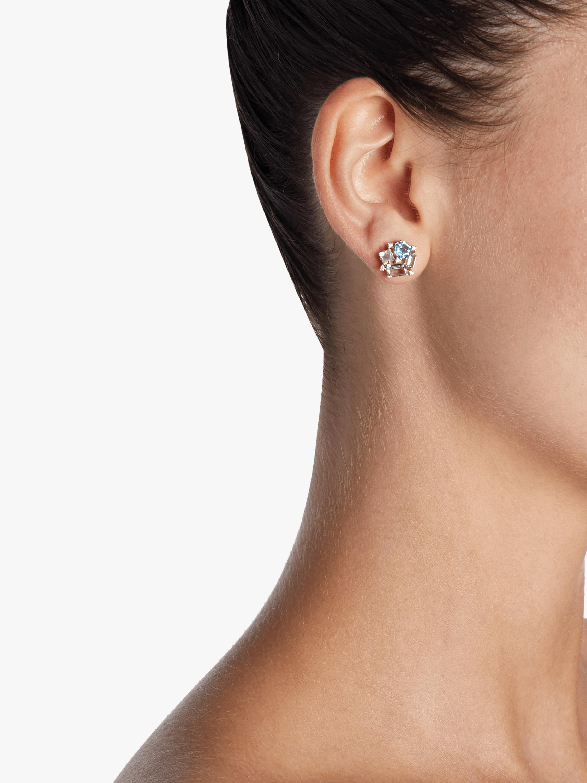 Topaz and Rainbow Moonstone Stud Earrings