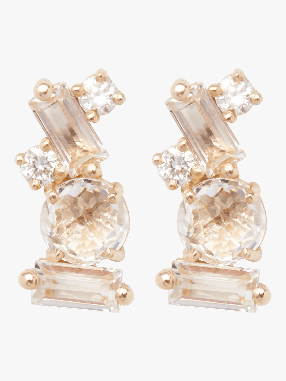 Baguette White Topaz Stud Earrings
