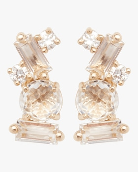 Baguette White Topaz Stud Earrings