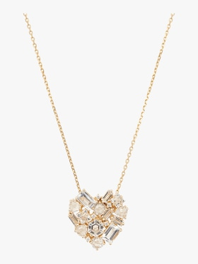 Trillion Diamond and Topaz Heart Necklace