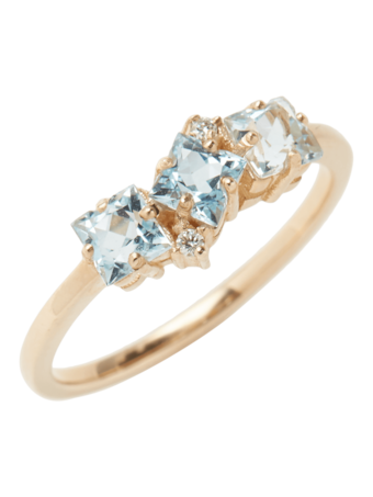 Blue Topaz and Diamond Baguette Ring