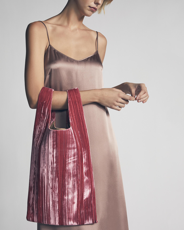 Rolled Velvet Shopper Bag