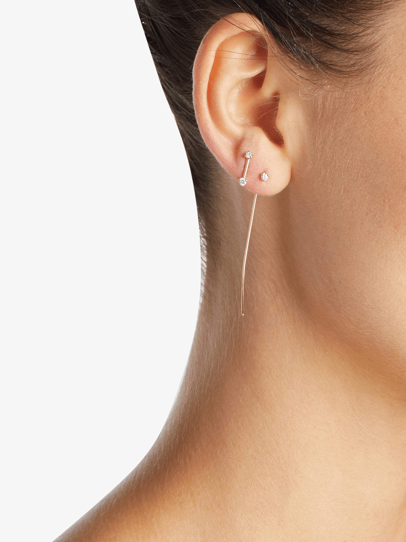 Diamond Barbell Stud Earrings