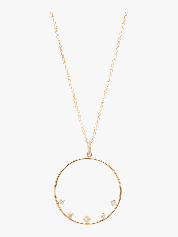Mixed Diamond Circle Necklace
