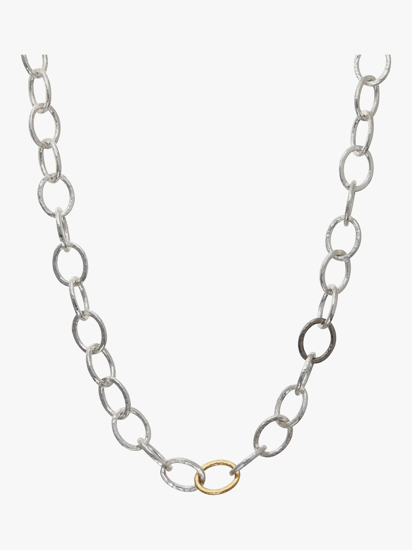 Hoopla Tri-Color Oval Linked Necklace