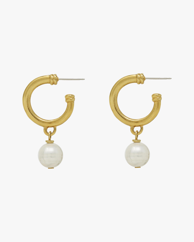 Ben-Amun Glass Pearl Hoop Earrings 0