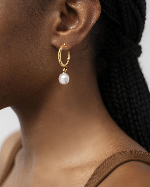 Ben-Amun Glass Pearl Hoop Earrings 1