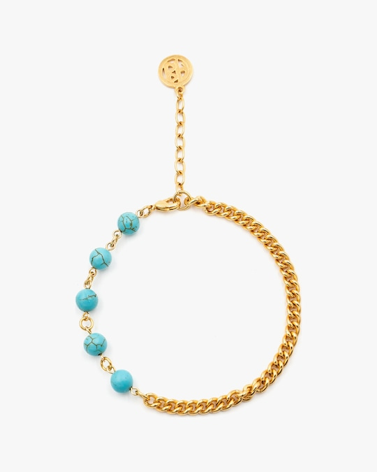 Ben-Amun Glass Bead Curb Chain Anklet 0