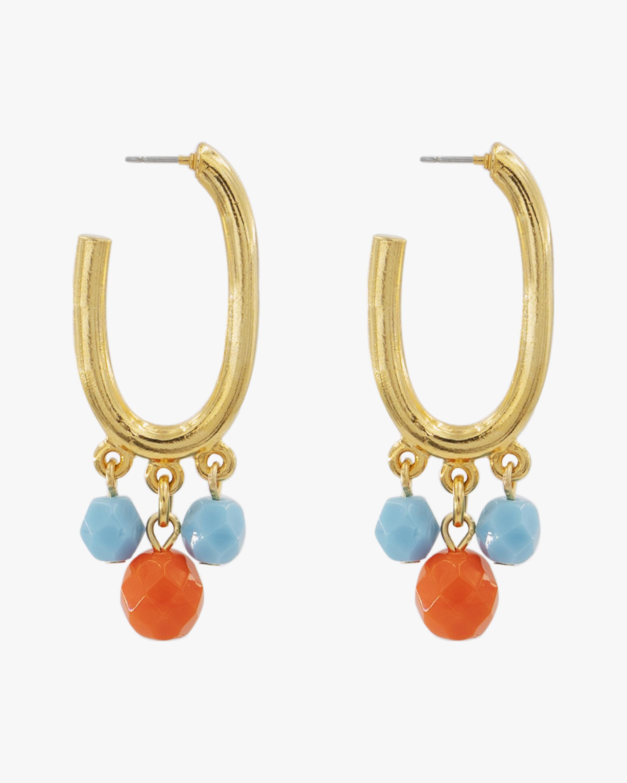 Ben-Amun Glass Stone Drop Oval Hoop Earrings 0