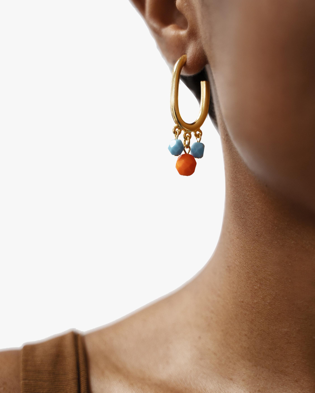 Ben-Amun Glass Stone Drop Oval Hoop Earrings 1