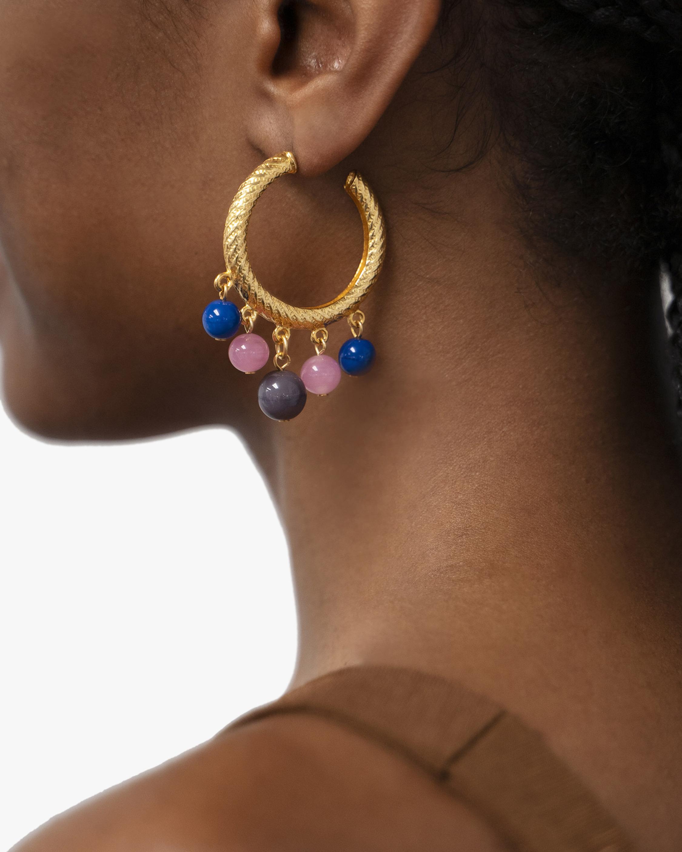 Ben-Amun Glass Stone Textured Hoop Earrings 2