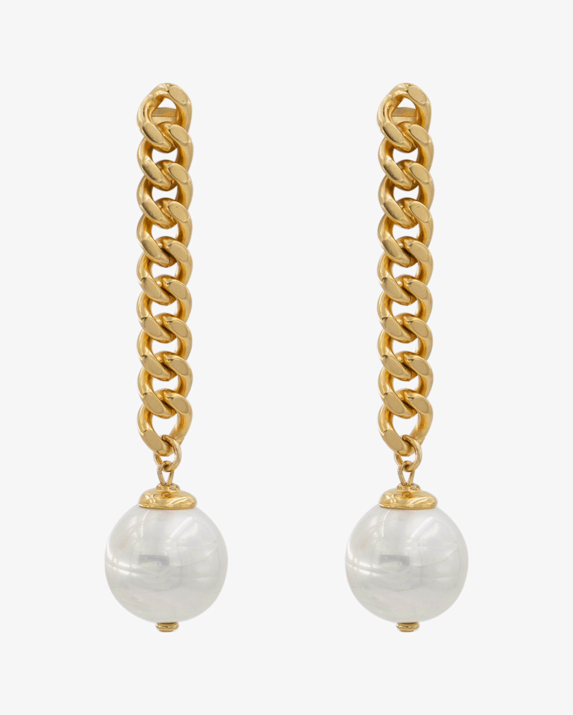 Ben-Amun Glass Pearl Curb Chain Drop Earrings 0