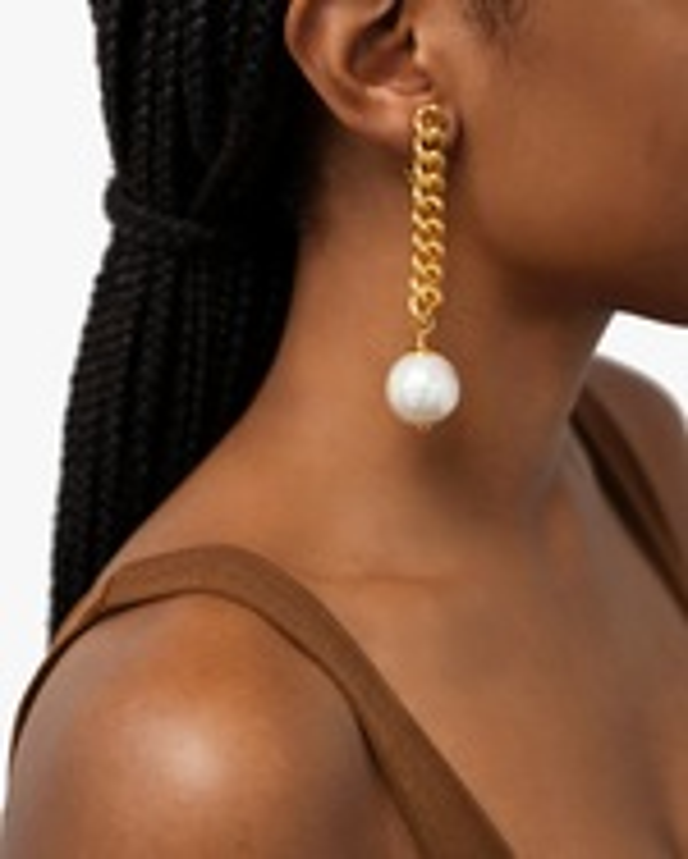 Ben-Amun Glass Pearl Curb Chain Drop Earrings 1