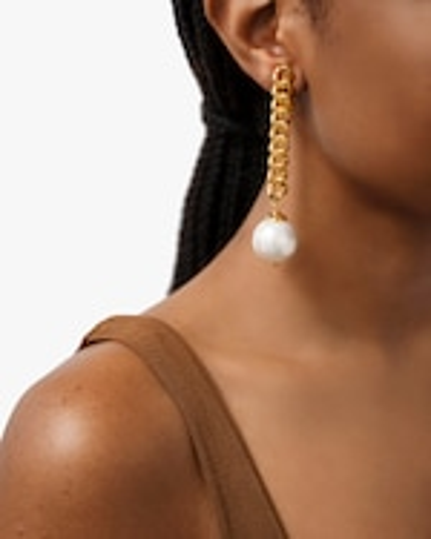 Ben-Amun Glass Pearl Curb Chain Drop Earrings 2