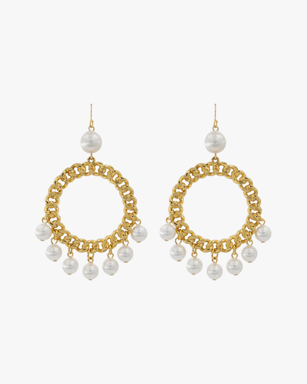 Ben-Amun Glass Pearl Circle Drop Earrings 1