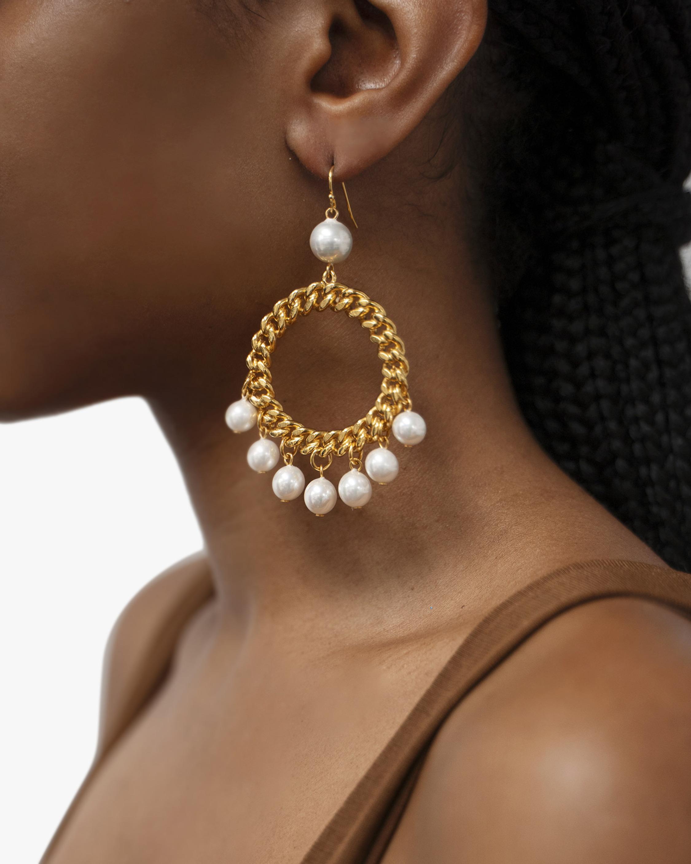 Ben-Amun Glass Pearl Circle Drop Earrings 2