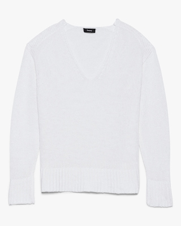 Theory Easy V-Neck Linen Sweater 1