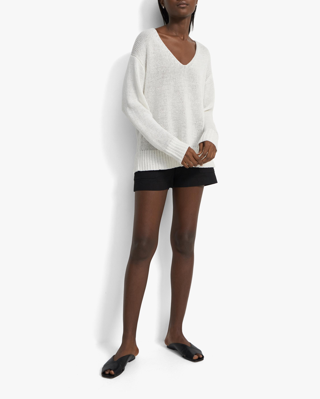 Theory Easy V-Neck Linen Sweater 2