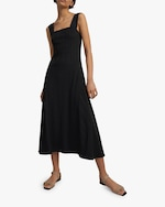 Theory Square-Neck Ribbed Dress 1