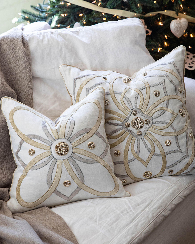 Juliska Berry & Thread Gold & Silver Pillow - 18in 2