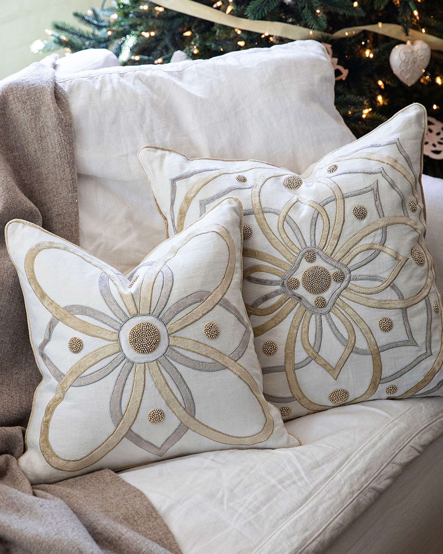 Juliska Berry & Thread Gold & Silver Pillow - 22in 2