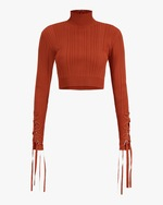 Herve Leger Ribbed Lace Crop Top 0